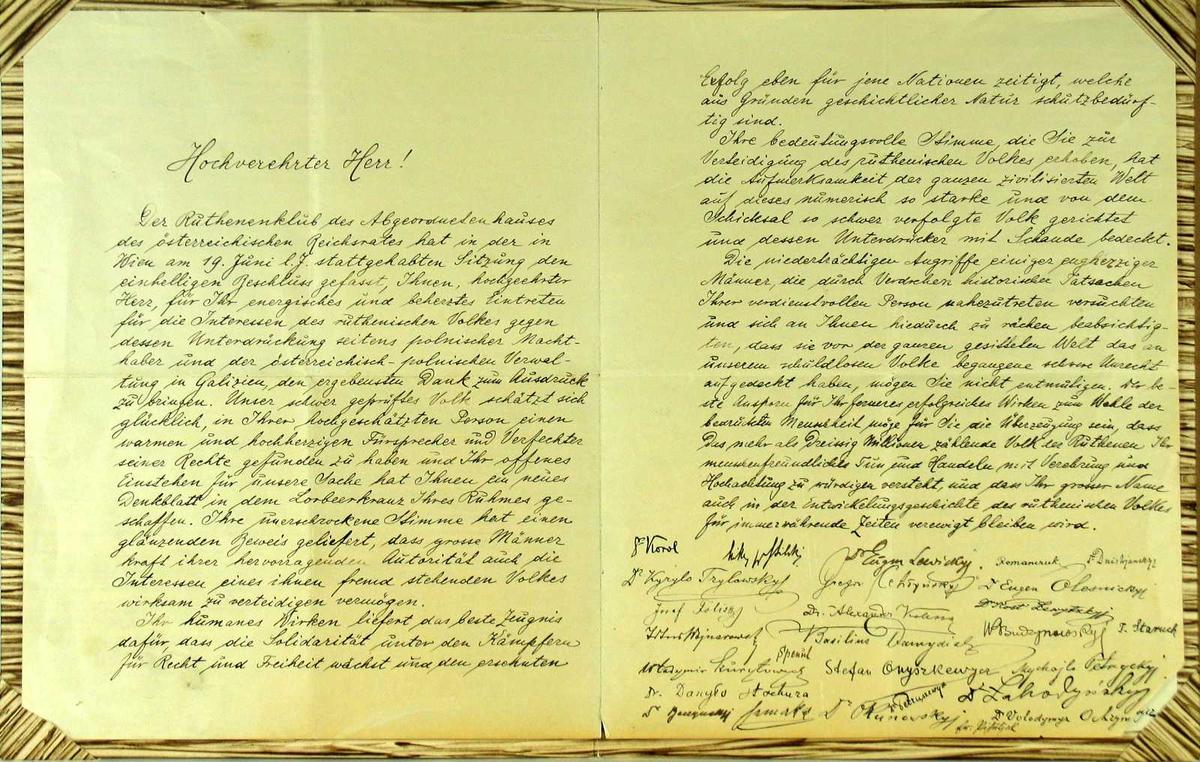 Brev skrevet på tysk, dobbeltside satt i pappomslag.