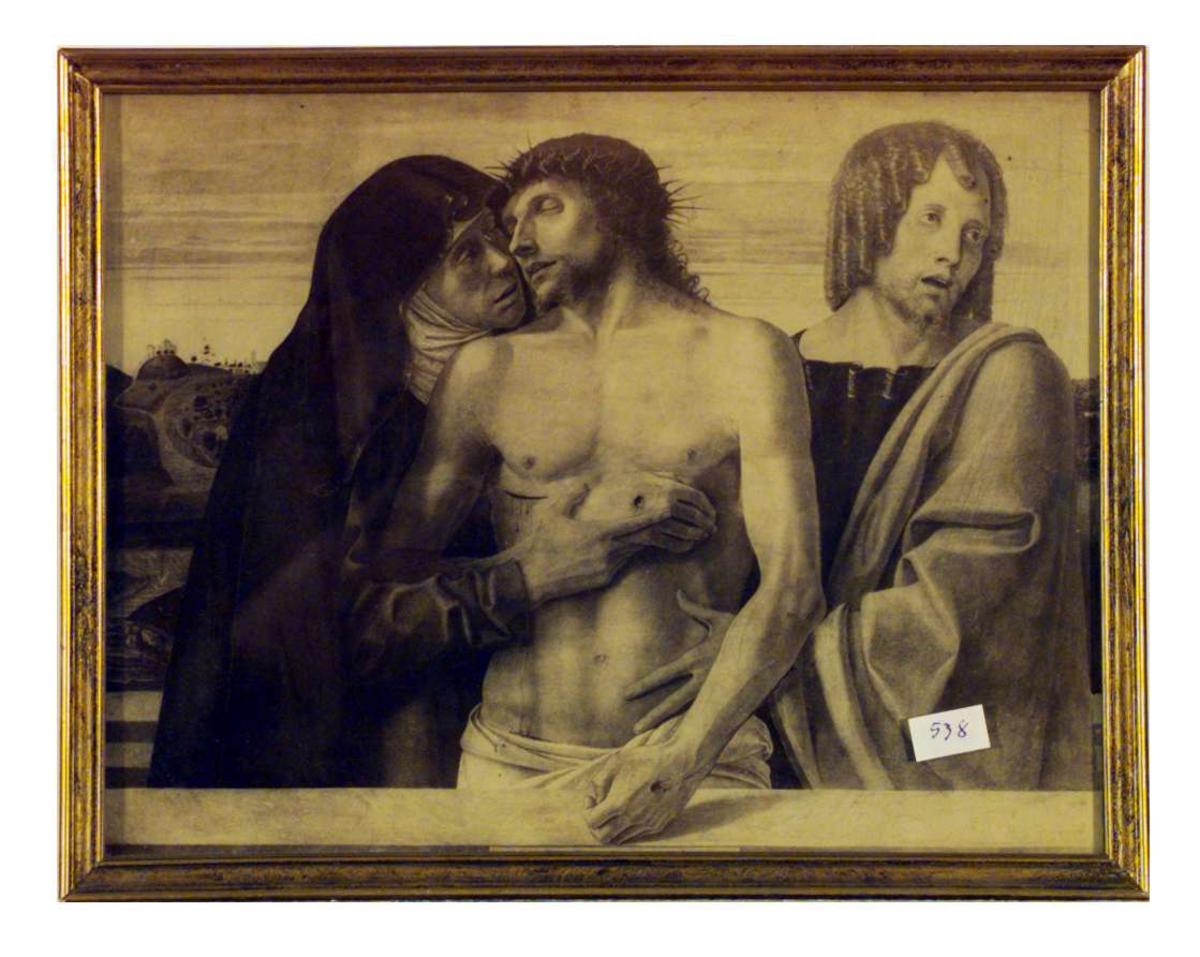 Jesus etter nedtagelsen fra korset, omgitt av Maria og døperen Johannes(?).