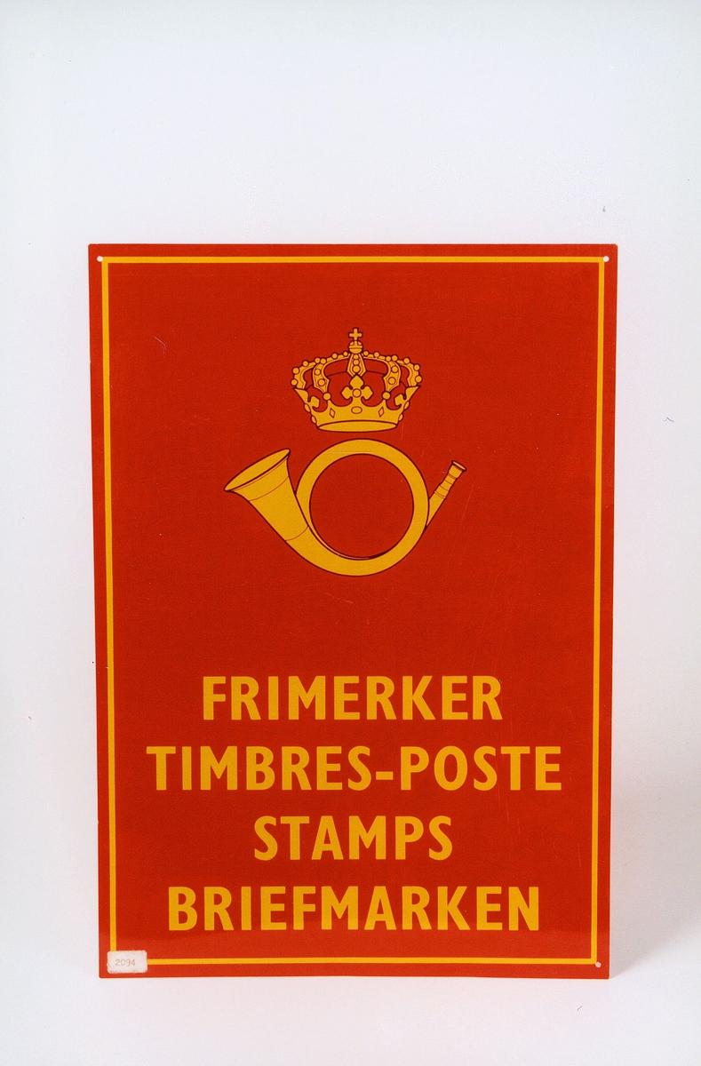 Postmuseet, gjenstander, skilt, opplysningsskilt, postskilt, posthorn med krone (postlogo), Frimerker, Timbres-poste, Stamps, Briefmarken.