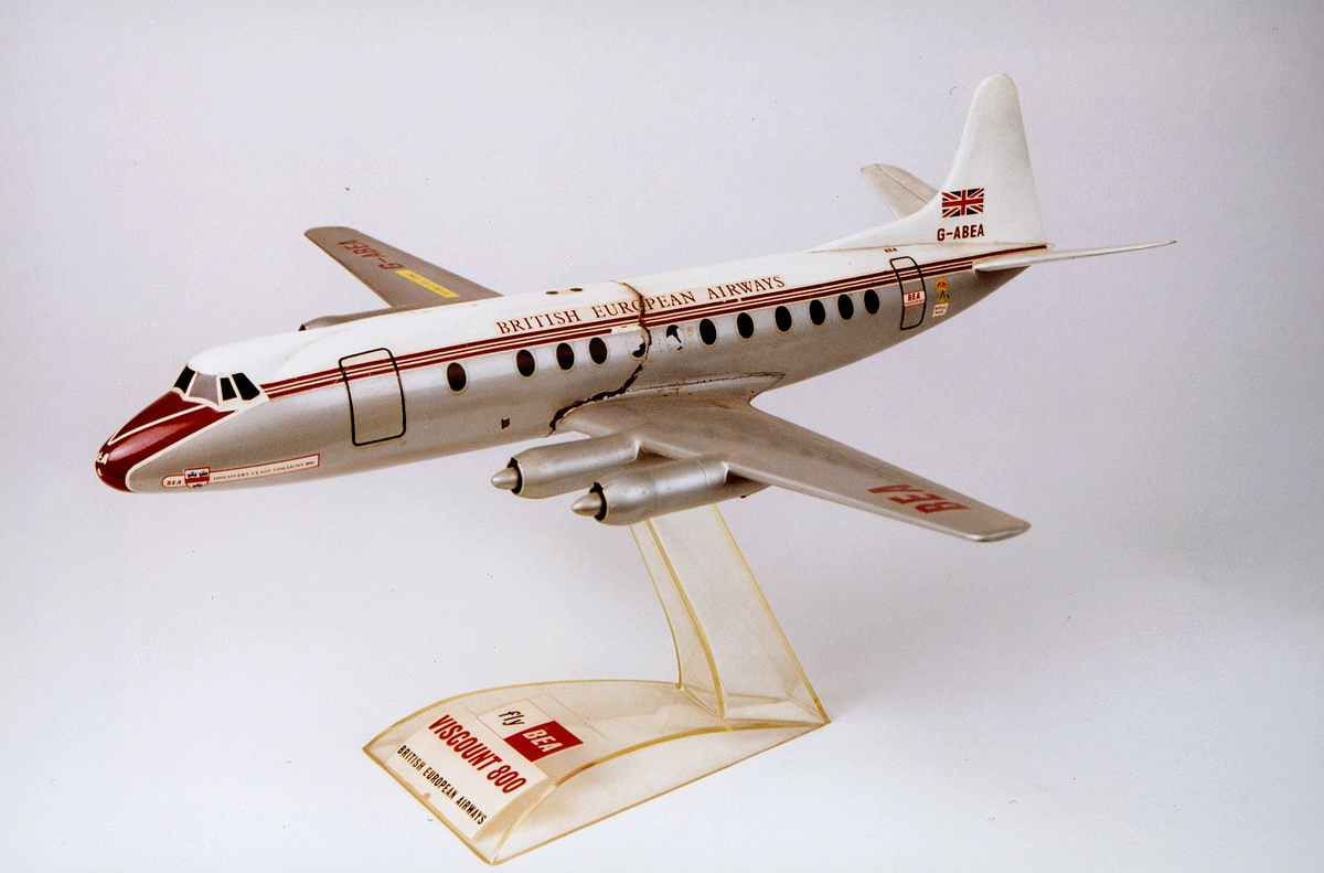 Postmuseet, gjenstander, fly, BEA, G-BEA, British European Airways, modell.