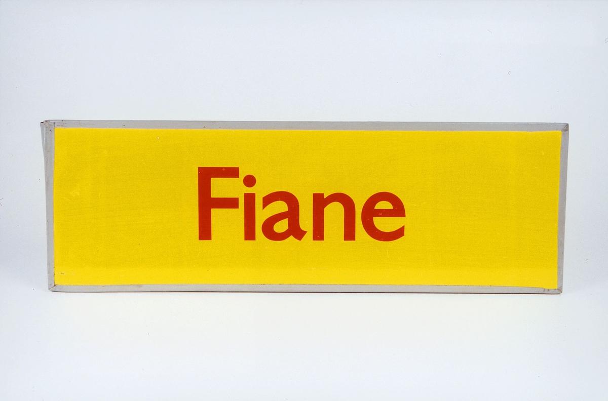 Postmuseet, gjenstander, skilt, stedskilt, stedsnavn, Fiane.