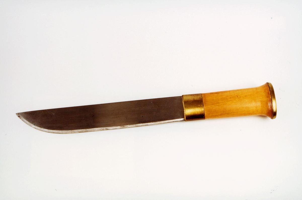 Samekniv med tre- og messintskaft