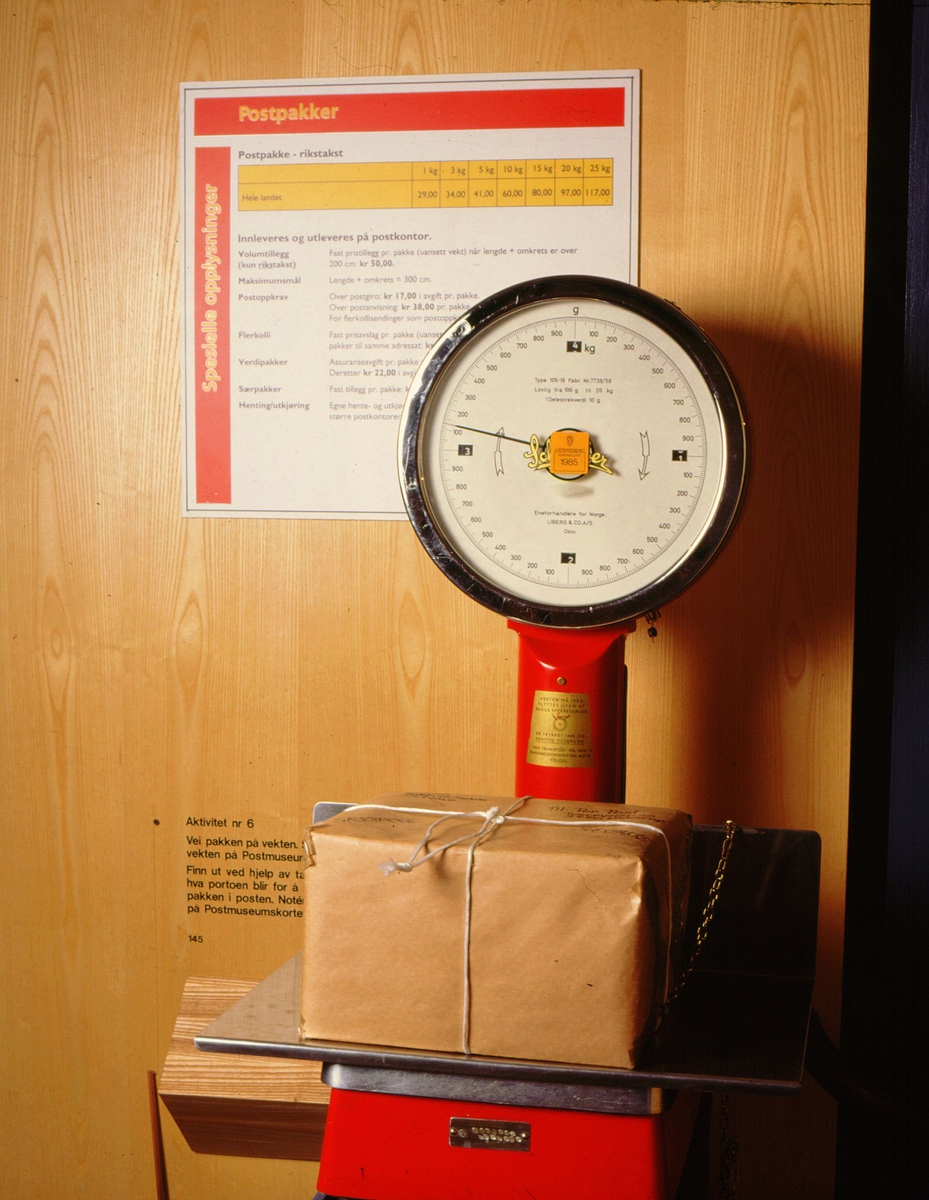 postmuseet, Kirkegata 20, utstilling, postpakker, aktivitetskortspørsmål, vekt