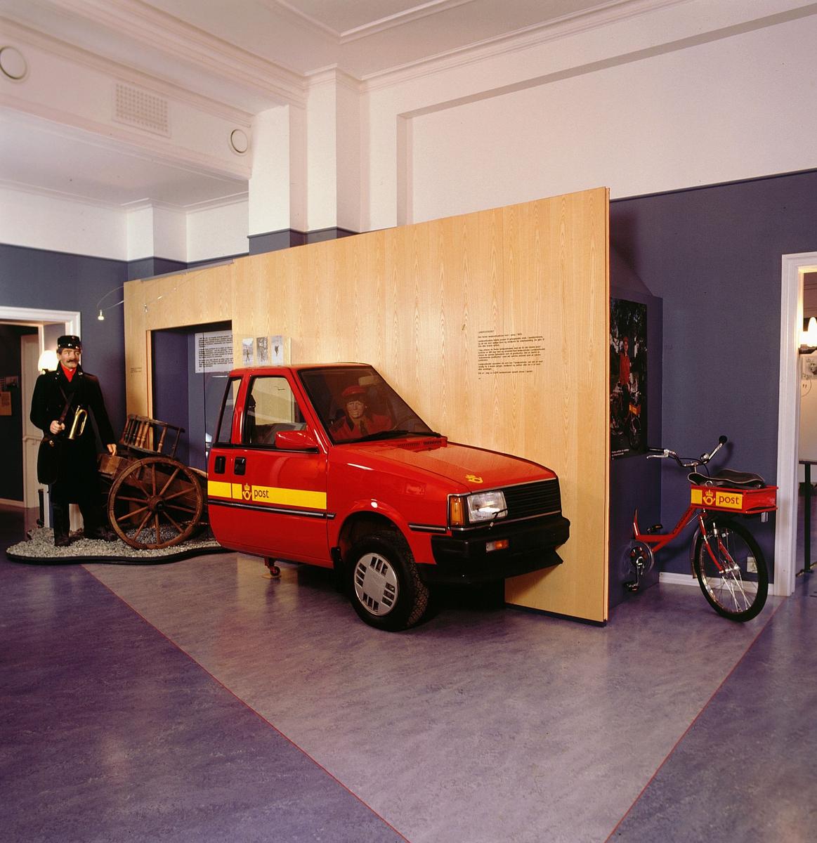 postmuseet, Kirkegata 20, utstilling, postbil, kjerre, postsykkel