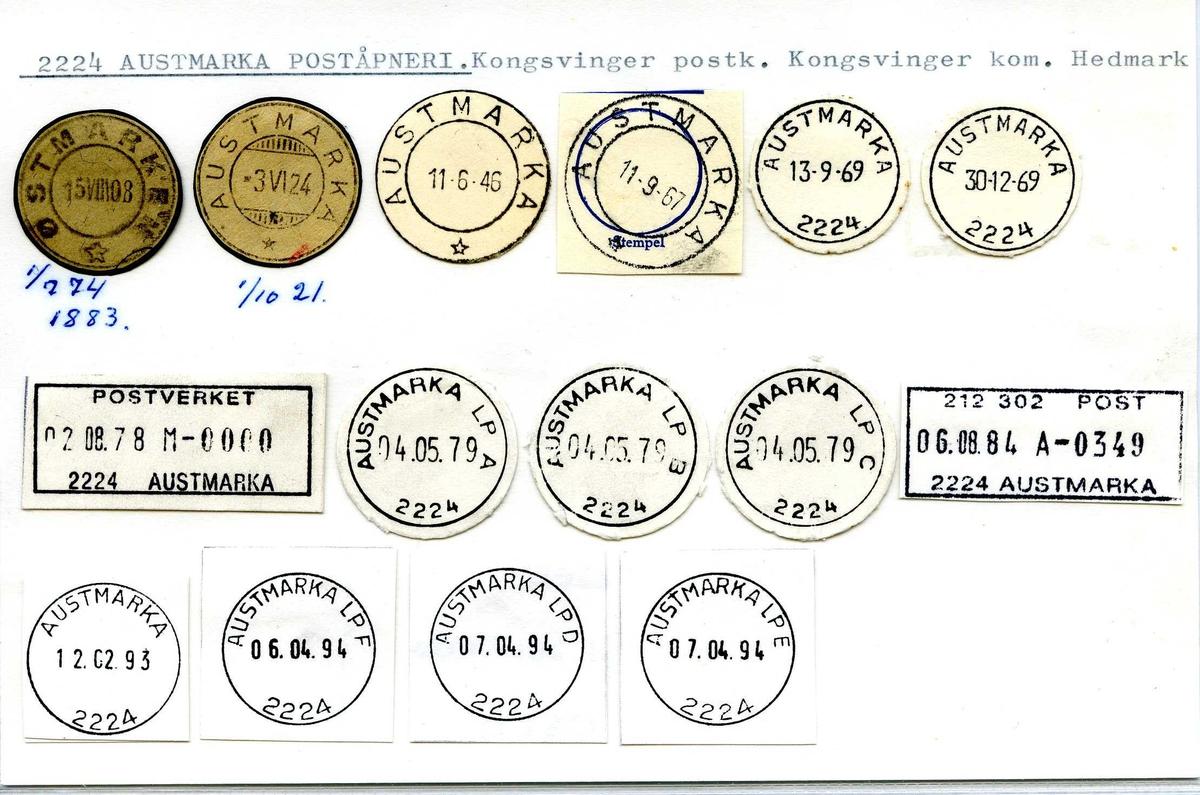 Stempelkatalog, 2224 Austmarka (Østmarken), Kongsvinger, Hedmark