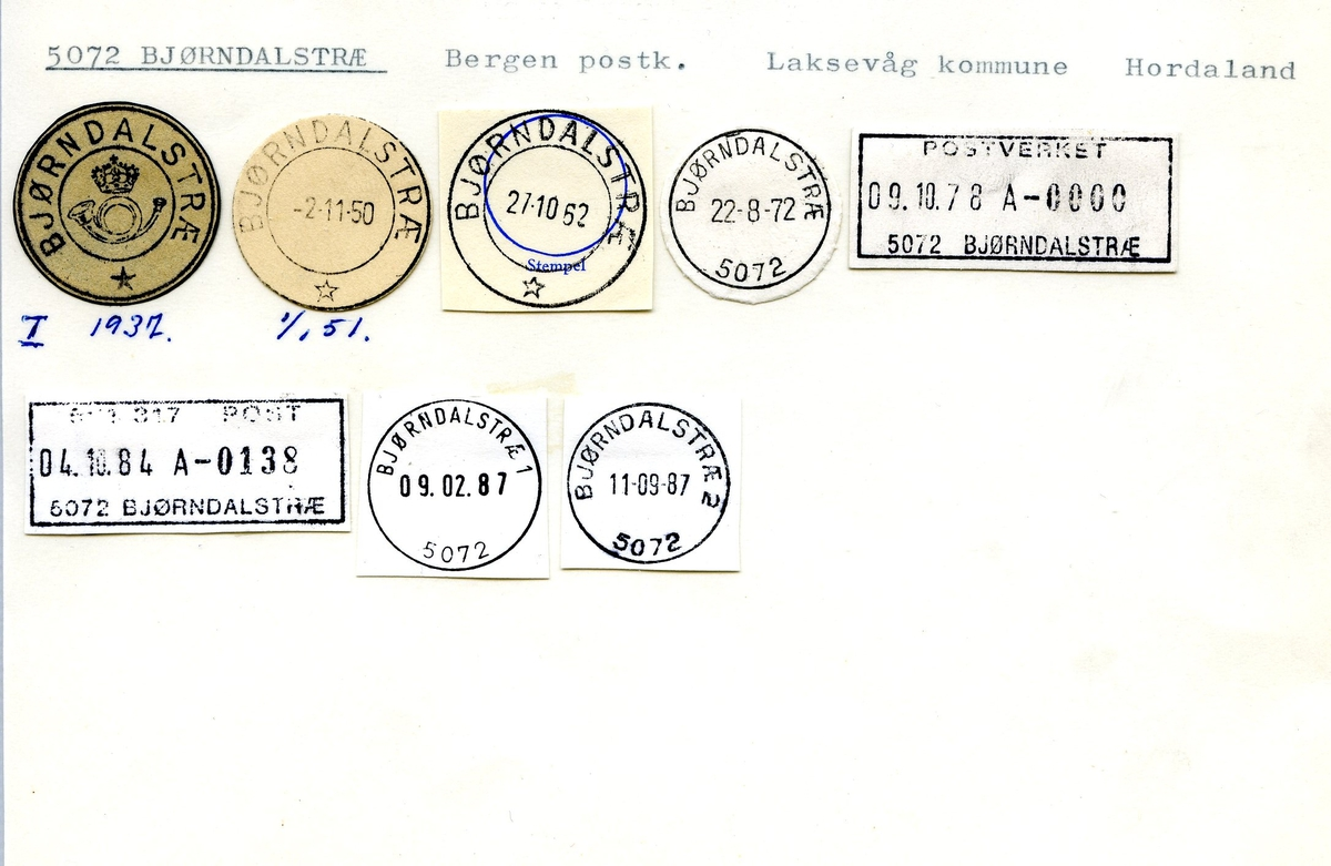 Stempelkatalog, 5072 Bjørndalstræ,, Laksevåg, Hordaland