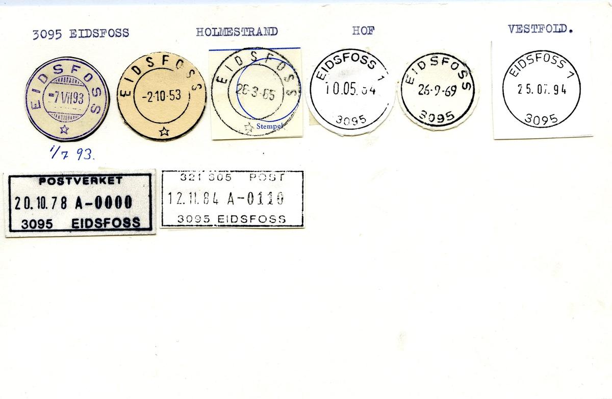 Stempelkatalog, 3095 Eidsfoss, Holmestrand, Hof, Vestfold