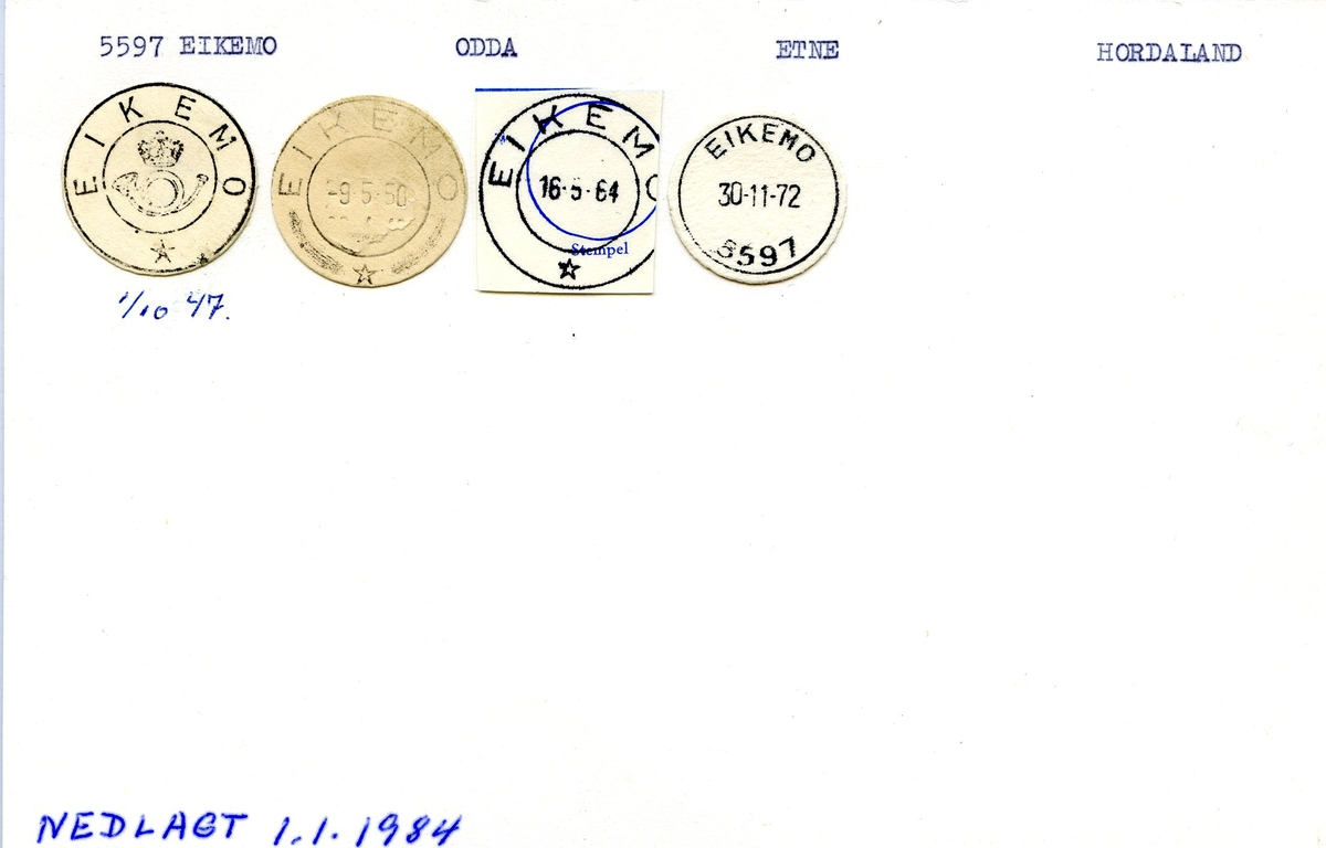 Stempelkatalog, 5597 Eikemo, Odda, Etne, Hordaland
