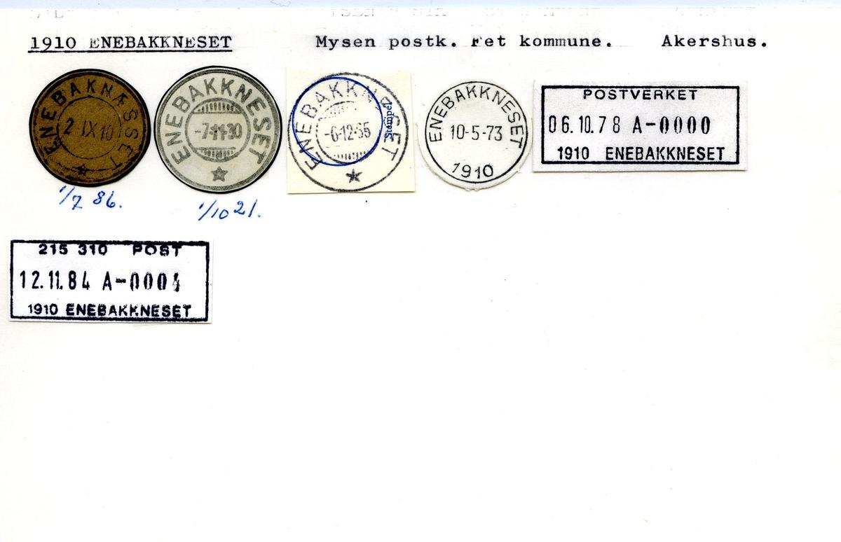 Stempelkatalog,1910 Enebakkneset, Mysen postk., Fet komm., Akershus