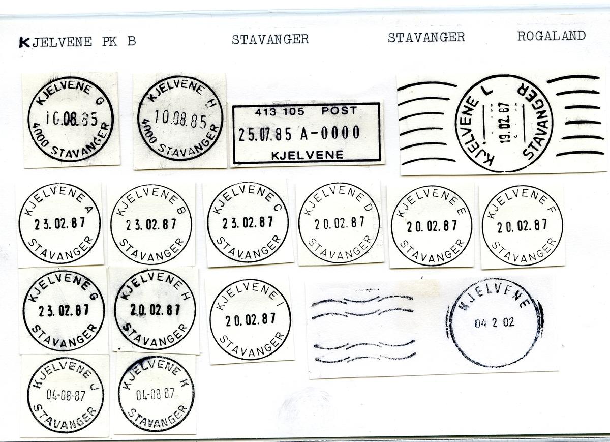 Stempelkatalog Kjelvene, Stavanger kommune, Rogaland (Stavanger Ø til 30.6.1974)