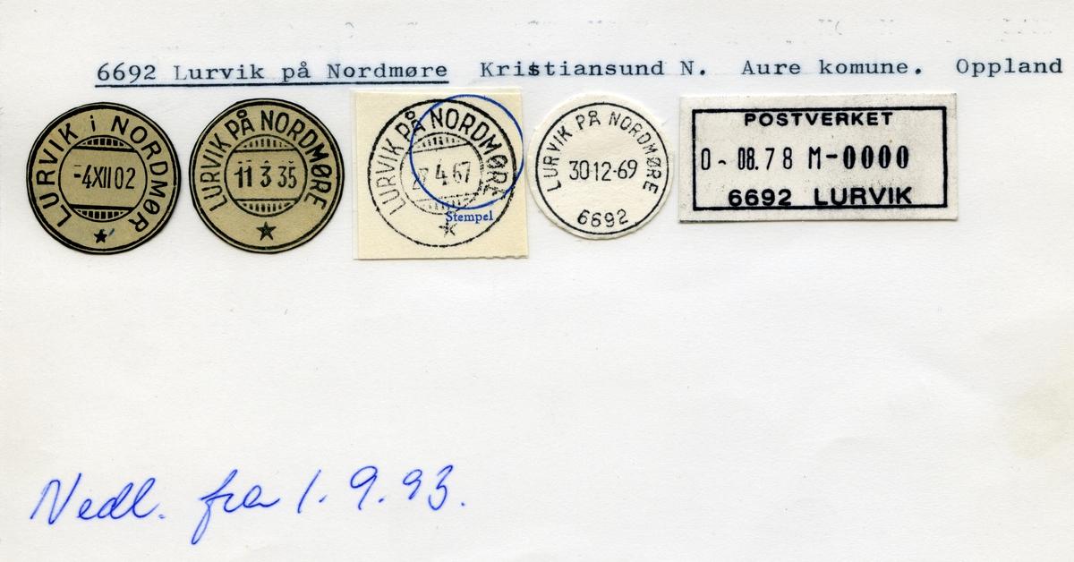 Stempelkatalog,6692 Lurvik på Nordmøre, Aure kommune, Møre og Romsdal