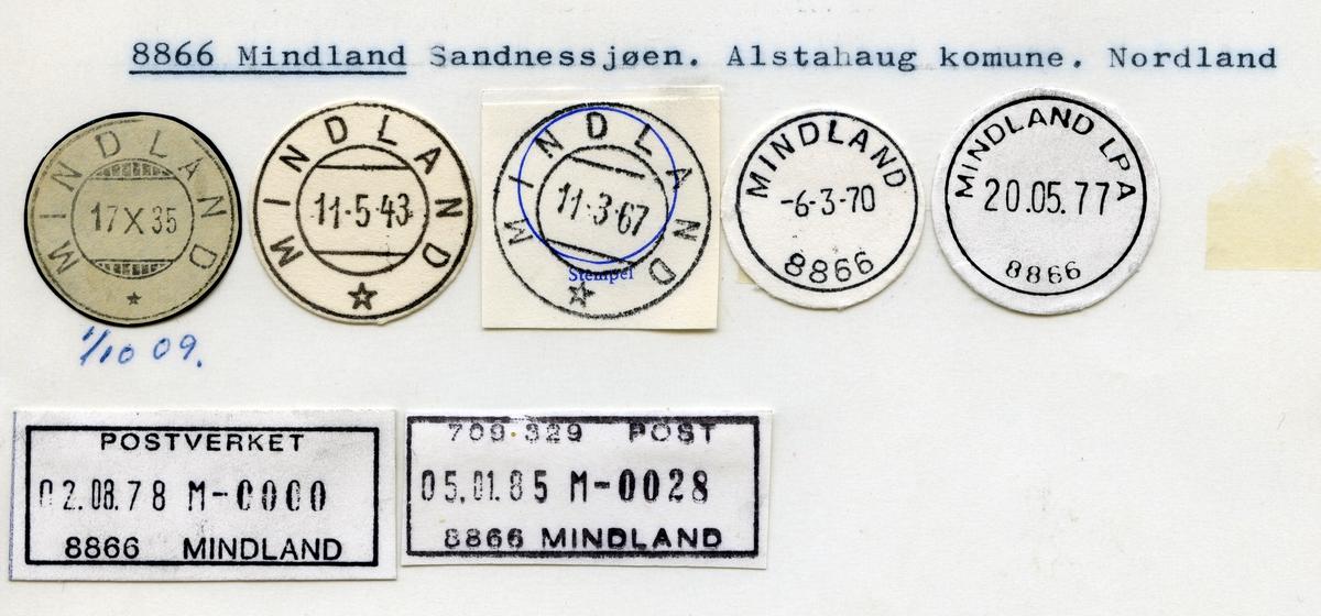 Stempelkatalog  8866 Mindland, Alstadhaug kommune, Nordland