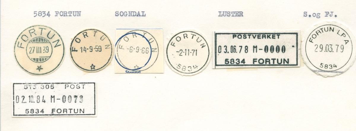 Stempelkatalog.5834 Fortun, Sogndal, Luster, S. og fj.