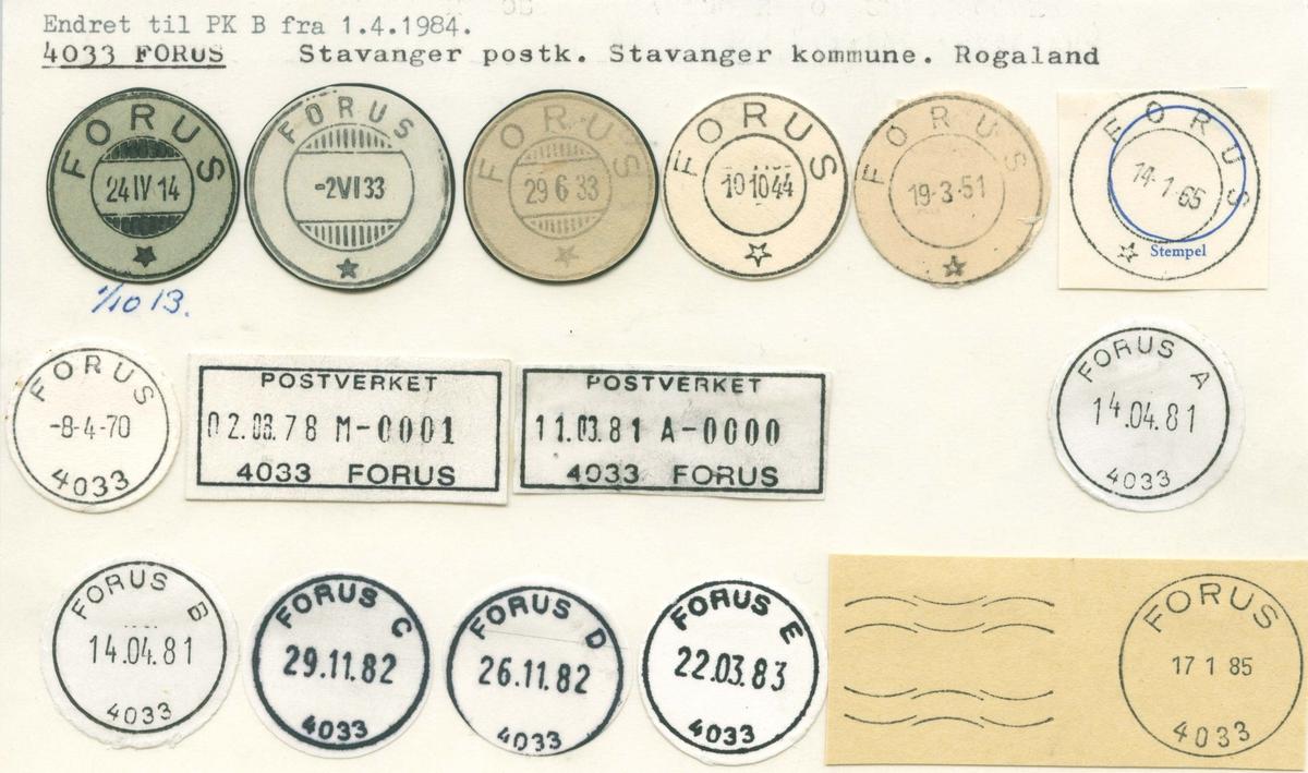 Stempelkatalog 4033 Forus, Stavanger, Rogaland