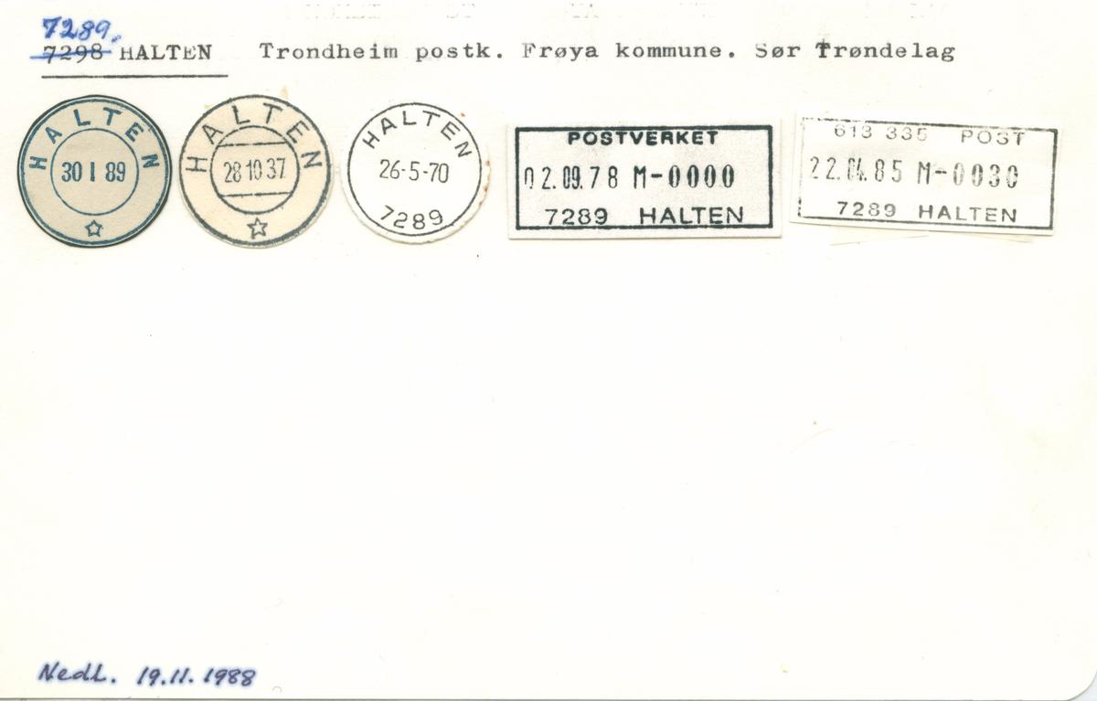 Stempelkatalog. 7289 Halten, Trondheim postk., Frøya kommune, Sør-Trøndelag