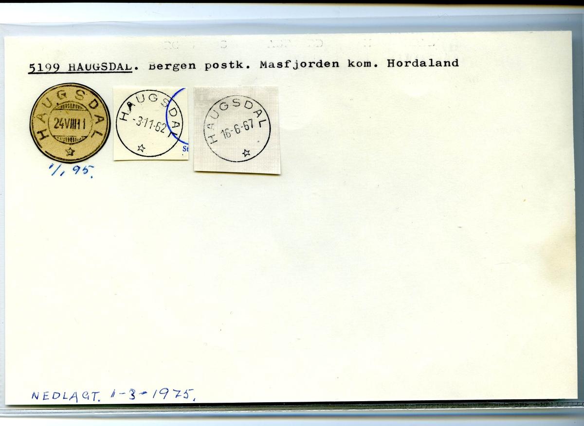 Stempelkatalog 5199 Haugsdal, Bergen, Masfjorden, Hordaland