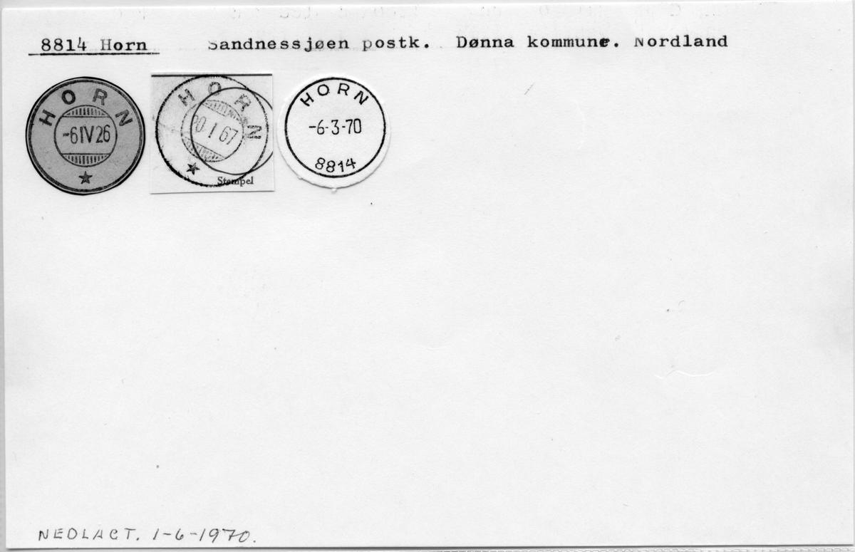 Stempelkatalog. 8814 Horn, Sandnessjøen postk., Dønna kommune, Nordland