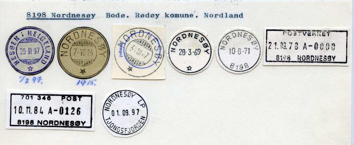 Stempelkatalog. 8198 Nordnesøy. Bodø postkontor. Rødøy kommune. Nordland fylke.