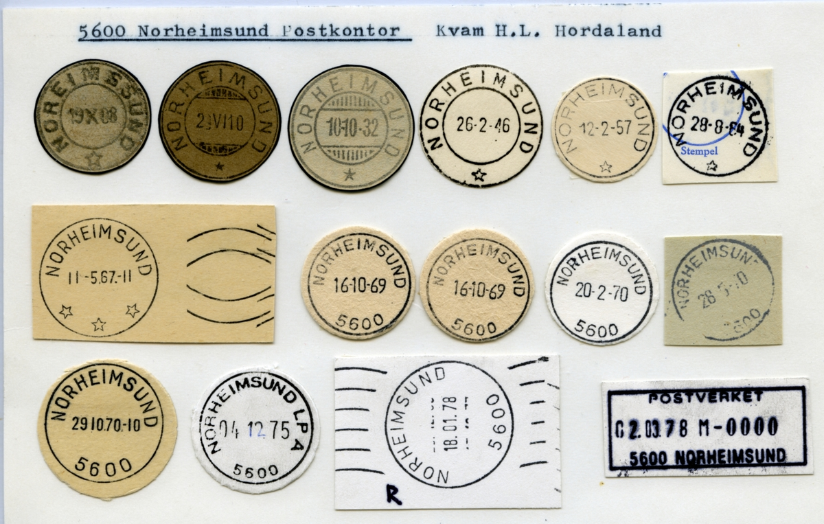 Stempelkatalog  5600 Norheimsund, Kvam, Hordaland