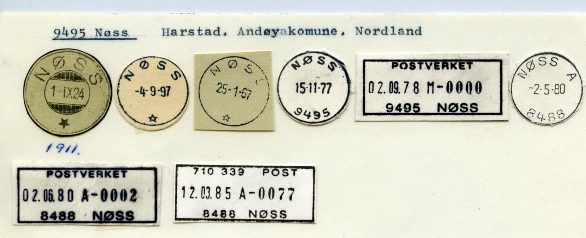 Stempelkatalog 9495 Nøss, Harstad, Andøy, Nordland