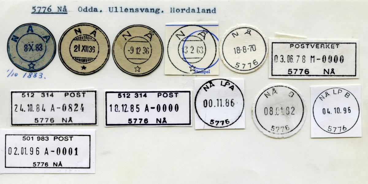 Stempelkatalog Nå, (Naa), Odda, Ullensvang, Hordaland