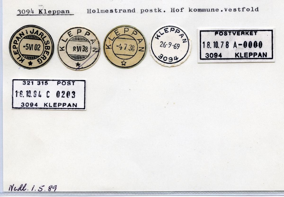 Stempelkatalog 3094 Kleppan (Kleppan i Jarlsberg), Holmestrand, Hof, Vestfold