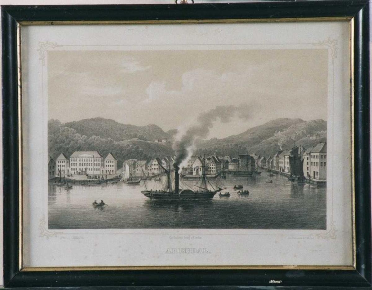 Arendal havn,  med Rådhuset tv. Langbrygga t.h.  hjulbåt  - enten SS Constitusionen eller SS Prinds Carl  -  midt i forgr.