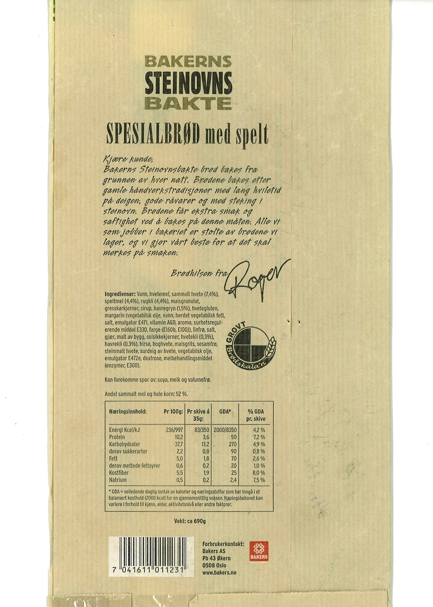 Bilde av en baker i hvite klær med underskriften Roger.