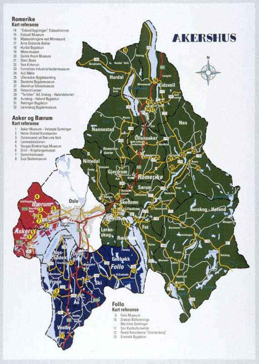 kart akershus Kart over Akershus, repro.   Akershusbasen / DigitaltMuseum kart akershus