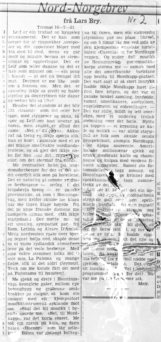 Reisebrev fra Nord Norge skrevet av Lars Bry i 1951.