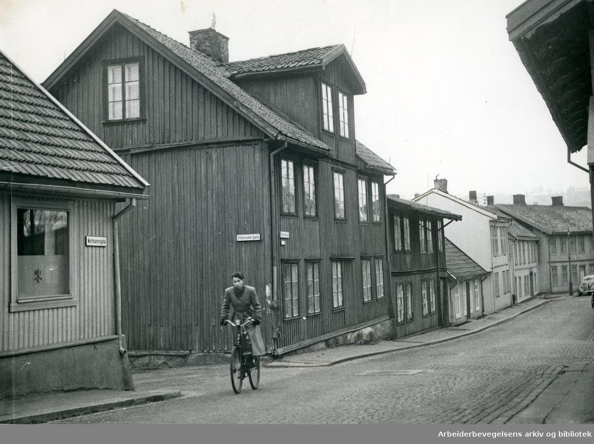Hjørnet av Normannsgata og Ullensakergata på Kampen,.1940-tallet