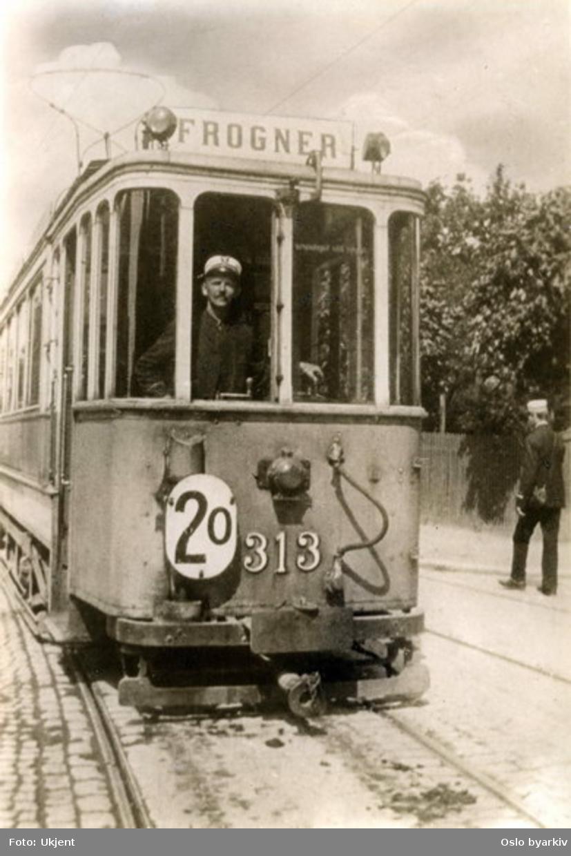 Union vogn 313. Frognertrikken, linje 2.
