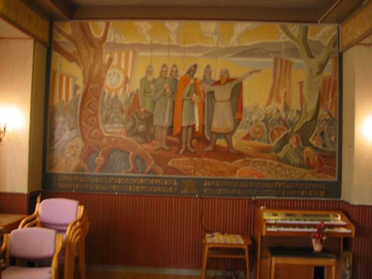 Maleri på veggen i Stadsbygd gamle kommunestyresal. Malt av Paul A. Slønes 1951