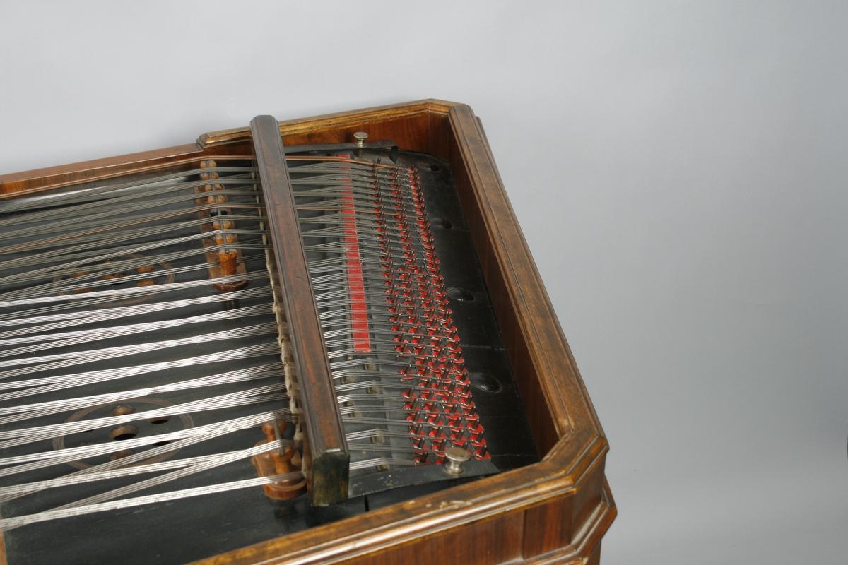 Trapez på 4 balustreben. Profilert kasse, delvis med innlagt annen tresort. Separat lokk. 35 strengekor. 19 korene er enkle stålstrenger, disse er alle 4-korige. 16 kor er spundne stålstrenger, hvorav 15 er 3 korig, og den siste 2 korig. Sortmalt klangbunn med 4 lydhull. 5 stoler av ulik lengde. To demperlister er forbundet til en pedal med lyreformet feste. Spilles med to skjeformete trestikker (RMT 70/10 B-C), hvis ene ende er trukket med filt. En stemmenøkkel hører til (RMT 70/10 D).