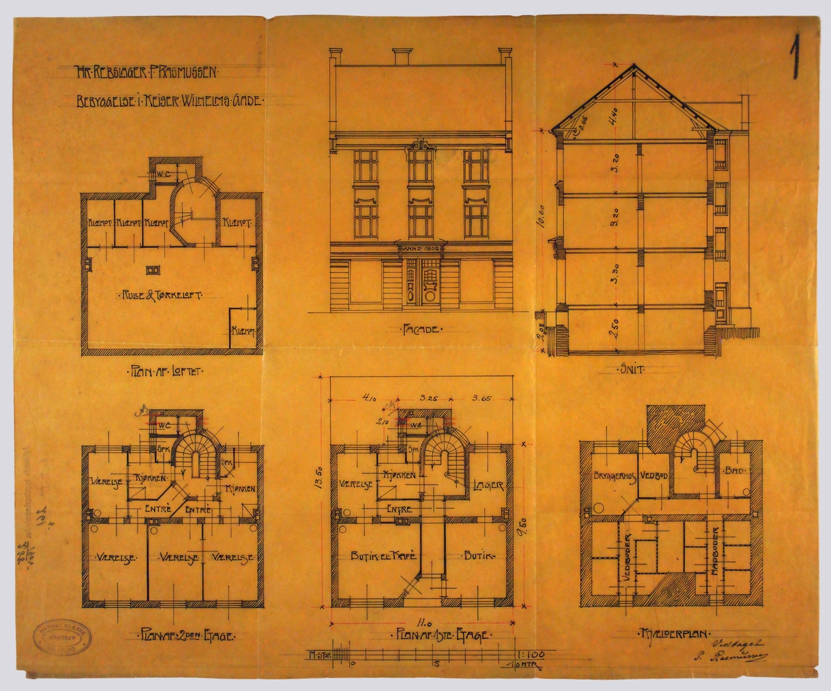 Hr. Rebslager P. Rasmussen, bebyggelse i Keiser Wilhelms gade [Arbeidstegning]