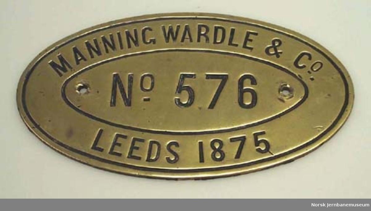 Fabrikkskilt fra Manning Wardle & Co. Leeds : fra lokomotiv type 7a nr. 25