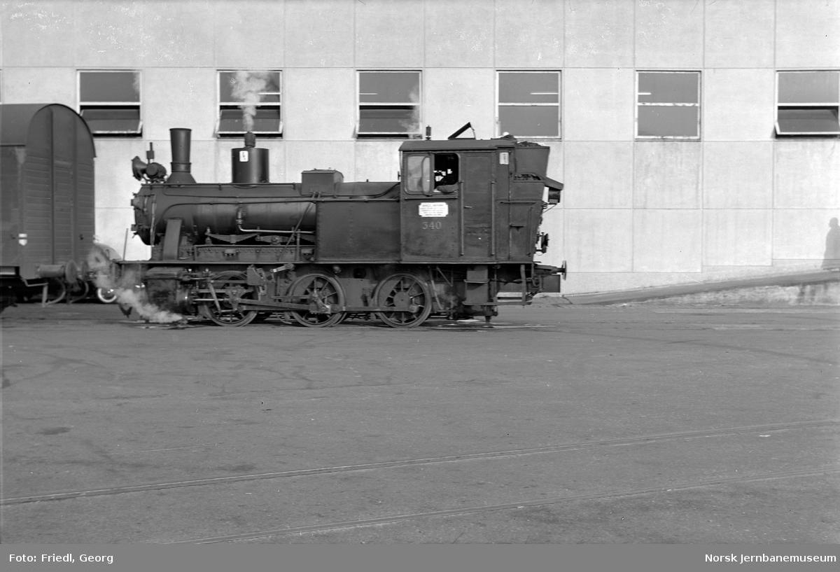 Damplokomotiv type 25b nr. 340 på Skoltegrunnskaien i Bergen