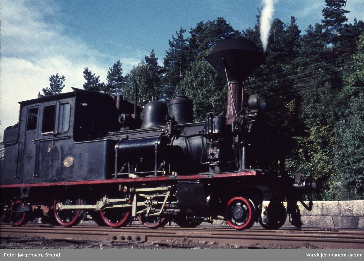 Damplokomotiv nr. 5 på Hægeland stasjon