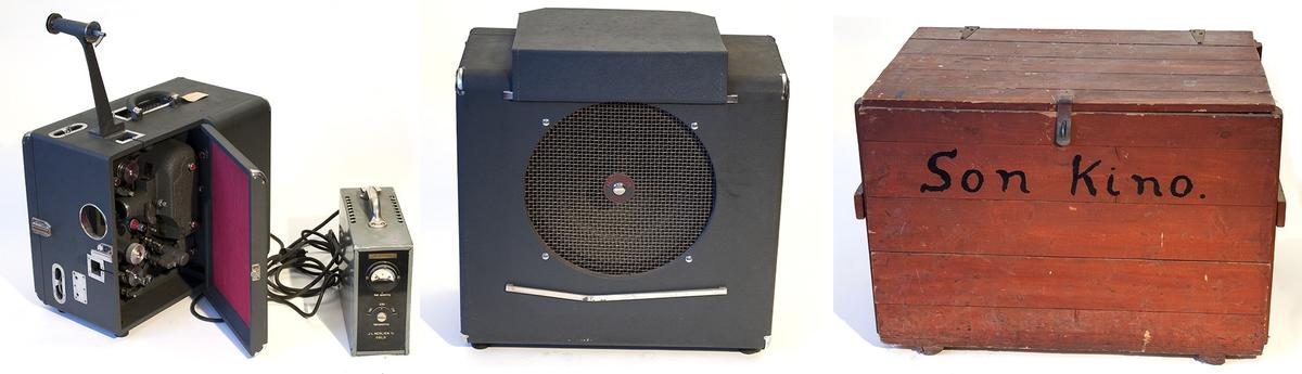 Filmfremviser med høyttaler og spenningsomformer. Transportkasse av tre. Fra 1950-tallet.