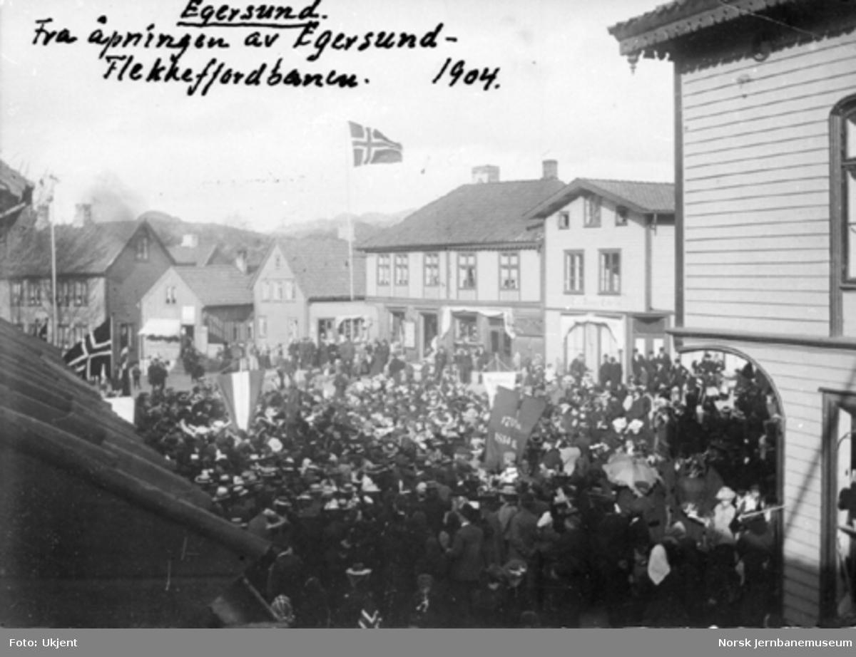 Store folkemengder i Egersund ved åpningen av Flekkefjordbanen