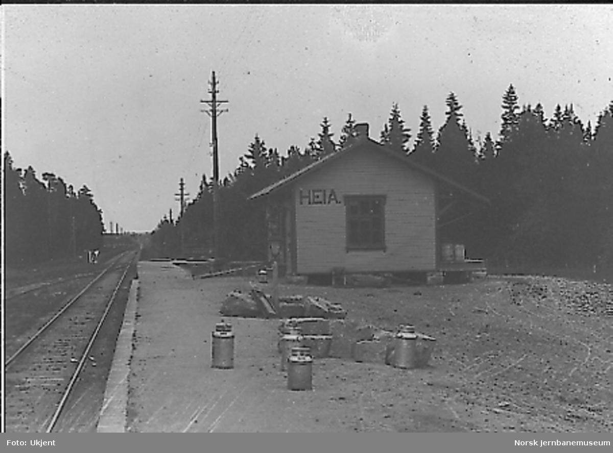 Heia stoppested med melkespann m.m. på plattformen; stasjonsbygningen ser ny ut