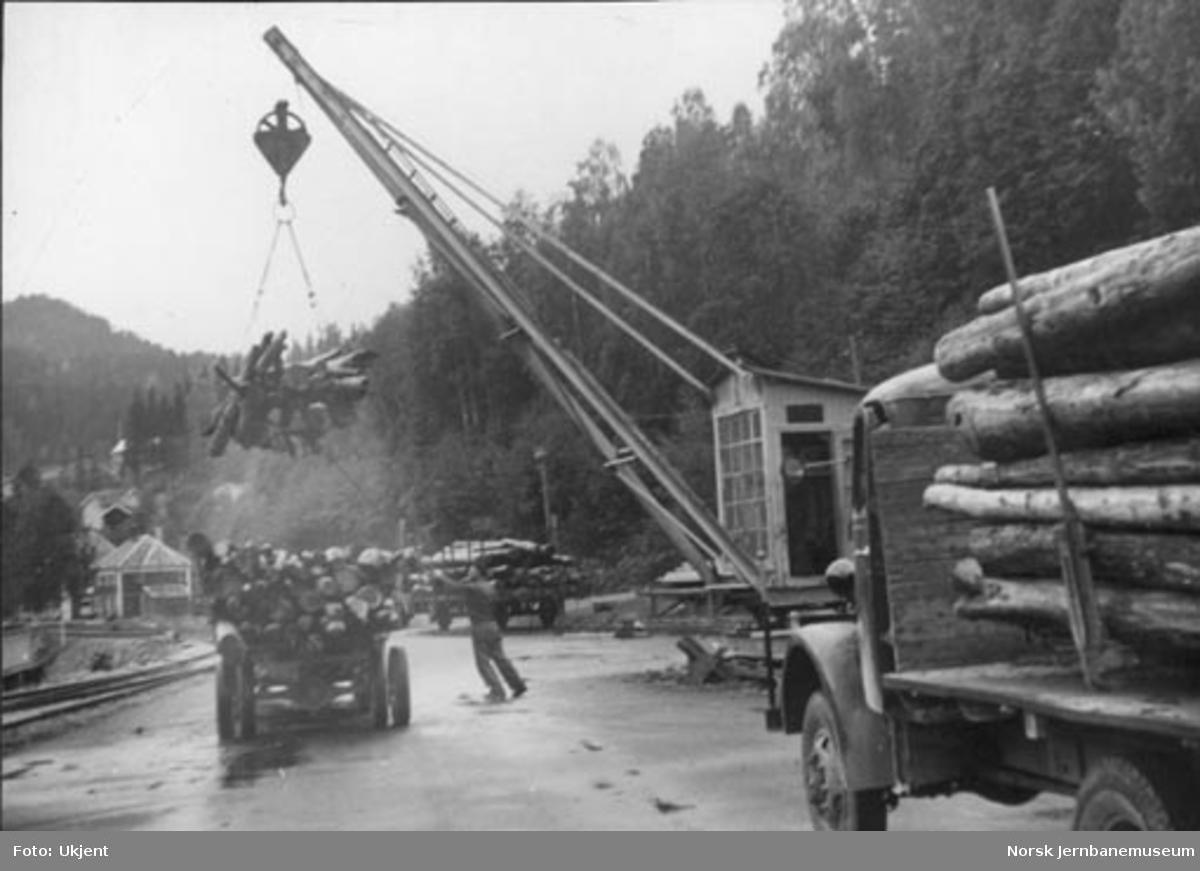 Tømmeromlasting på Rødberg stasjon
