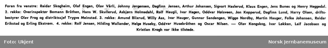 Utdeling av hederstegn til personale i NSB Hølandsrutene