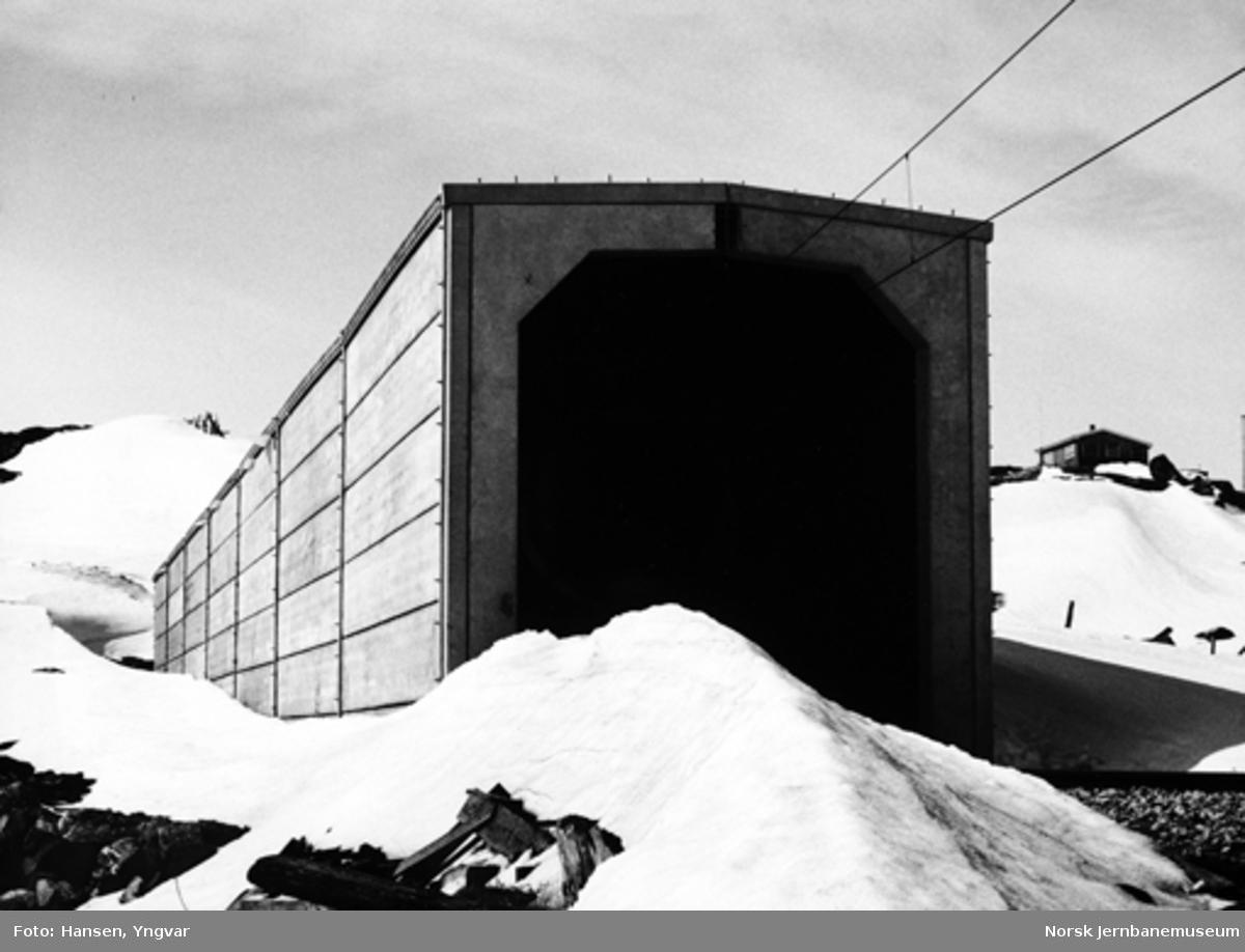 Snøoverbygg ved Torbjørnstøl øst for Finse; betongelementbygg