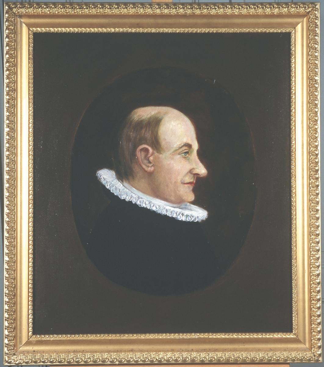 Portrett av eidsvollsmann og prest Georg B. Jersin Mann med tynt hår, høy panne, profil, lang nese, prestekledd, innskrevet i oval.