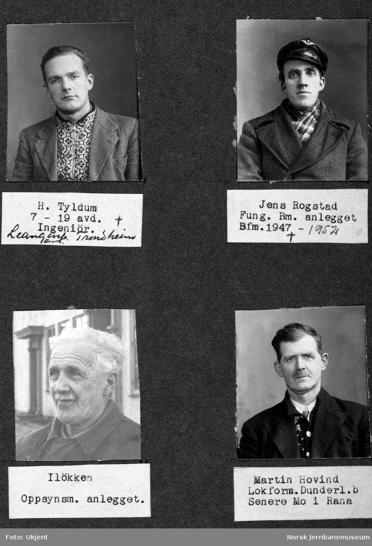 Personalbilder fra Mo i Rana stasjon : H. Tyldum, Jens Rogstad, Iløkken og Martin Hovind
