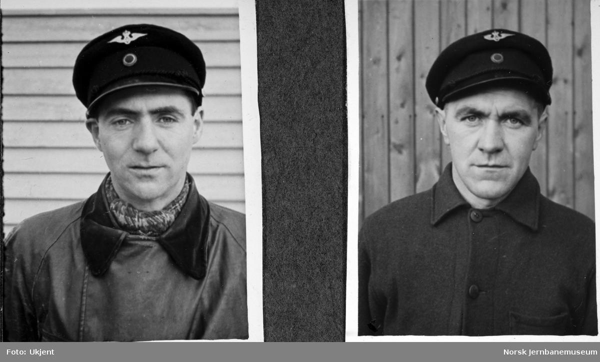 Personalbilder fra Mo i Rana stasjon : banevokterne Kirknes og Våden