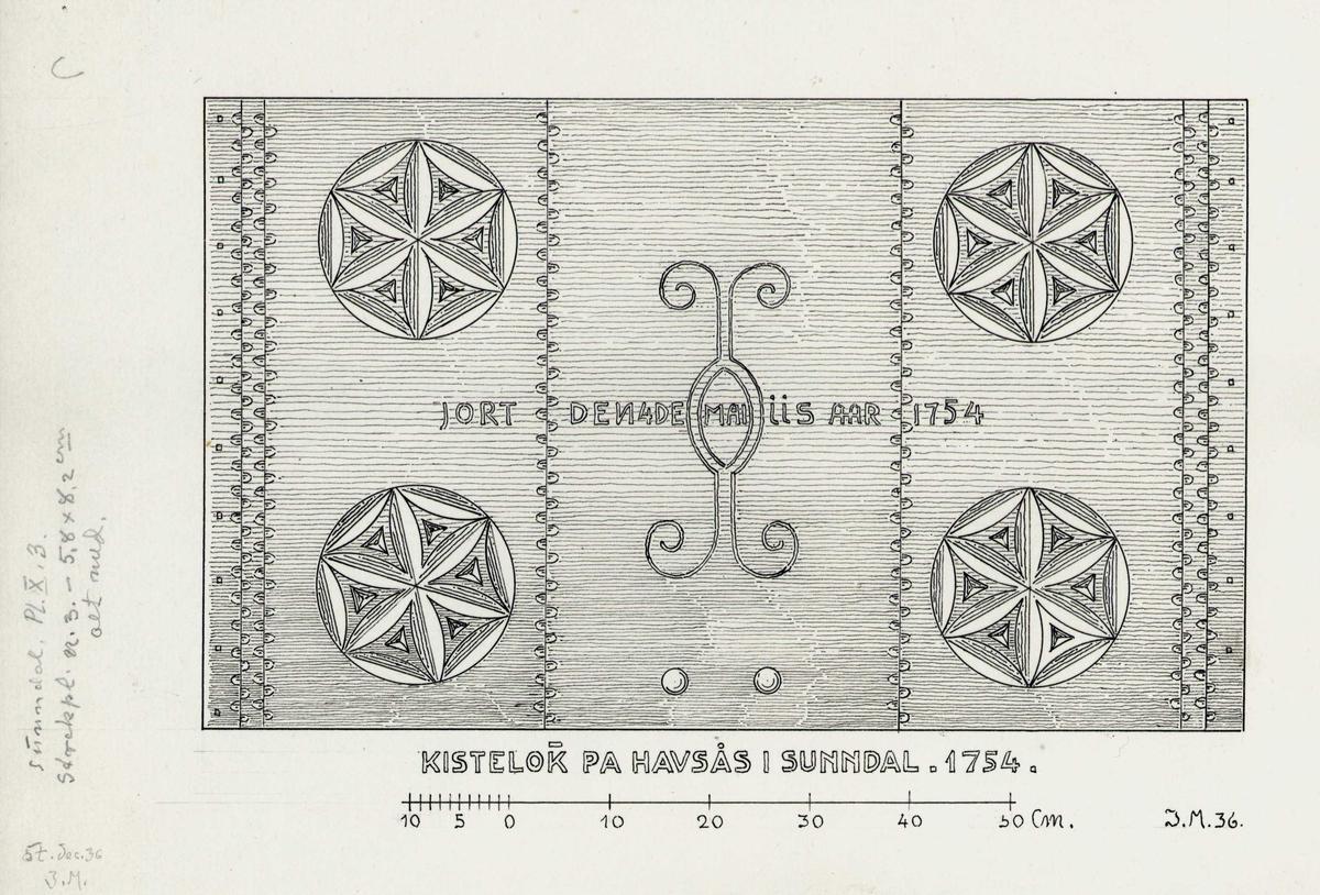 Johan J. Meyers tegning (1936) av kistelokk merket 1754, Hafsåsen, Sunndal, Møre og Romsdal.