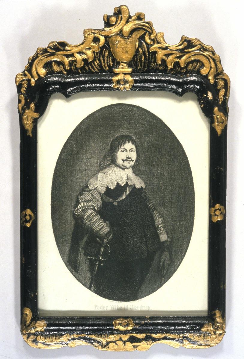 Portrett av Peder Vibe i drakt med bred kniplingskrage. Elefantordenen over brystet. Knebilde.