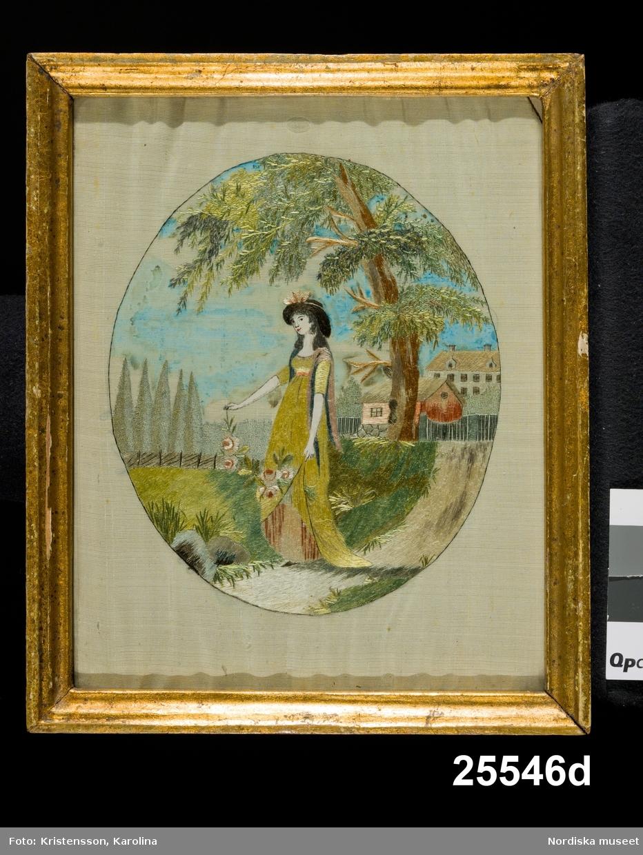 Tre lekande barn i park a) Två kvinnor och en svan b)Pojke på en väg med tre fåglar i sin hatt c)Flicka med blommor d)
